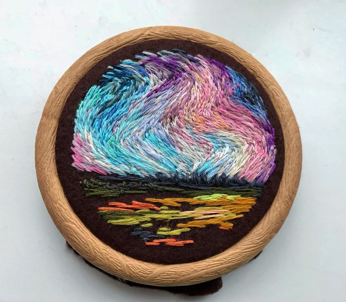 Lush Embroidery Hoop Art Of Landscapes In Vivid Colors By Vera Shimunia 28
