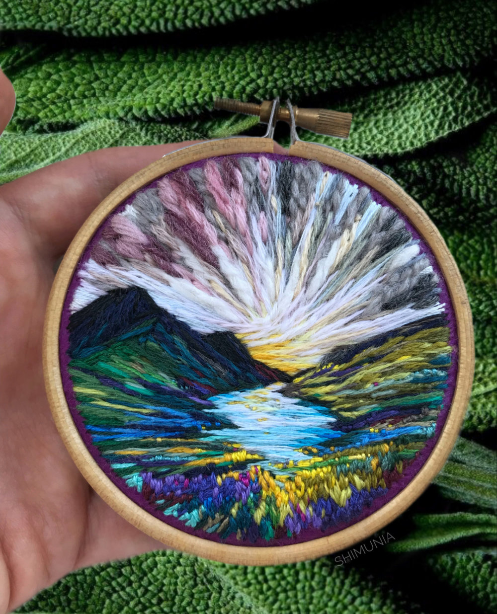 Lush Embroidery Hoop Art Of Landscapes In Vivid Colors By Vera Shimunia 3