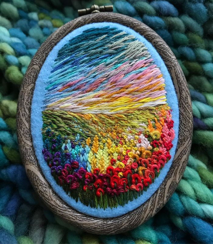 Lush Embroidery Hoop Art Of Landscapes In Vivid Colors By Vera Shimunia 30