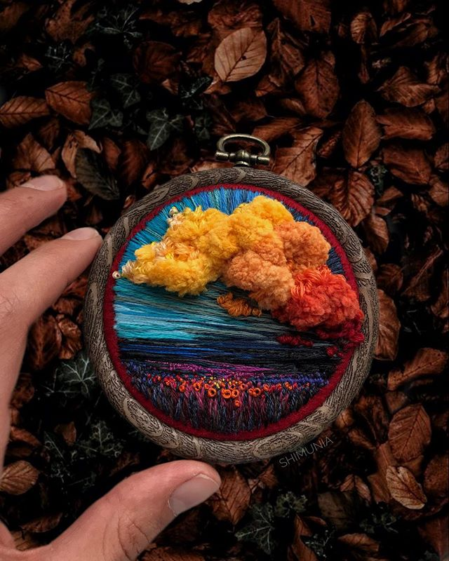 Lush Embroidery Hoop Art Of Landscapes In Vivid Colors By Vera Shimunia 31