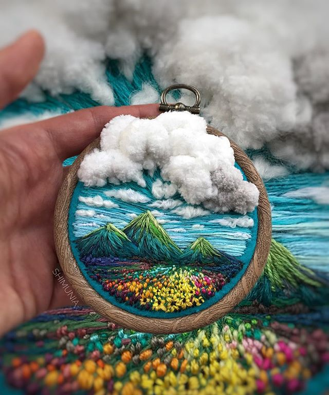 Lush Embroidery Hoop Art Of Landscapes In Vivid Colors By Vera Shimunia 34