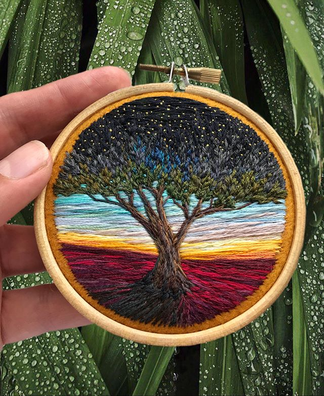 Lush Embroidery Hoop Art Of Landscapes In Vivid Colors By Vera Shimunia 37