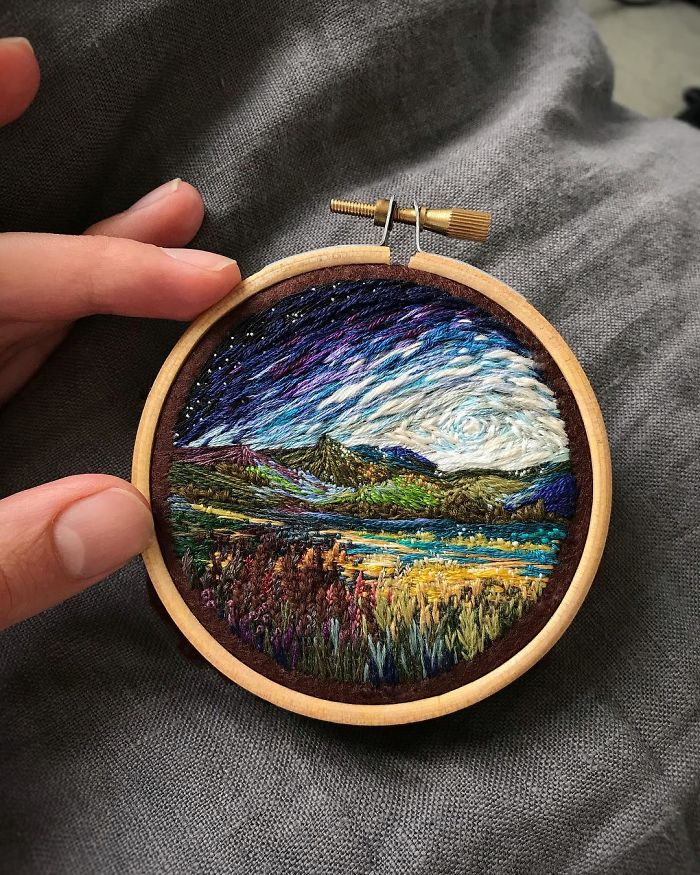 Lush Embroidery Hoop Art Of Landscapes In Vivid Colors By Vera Shimunia 7