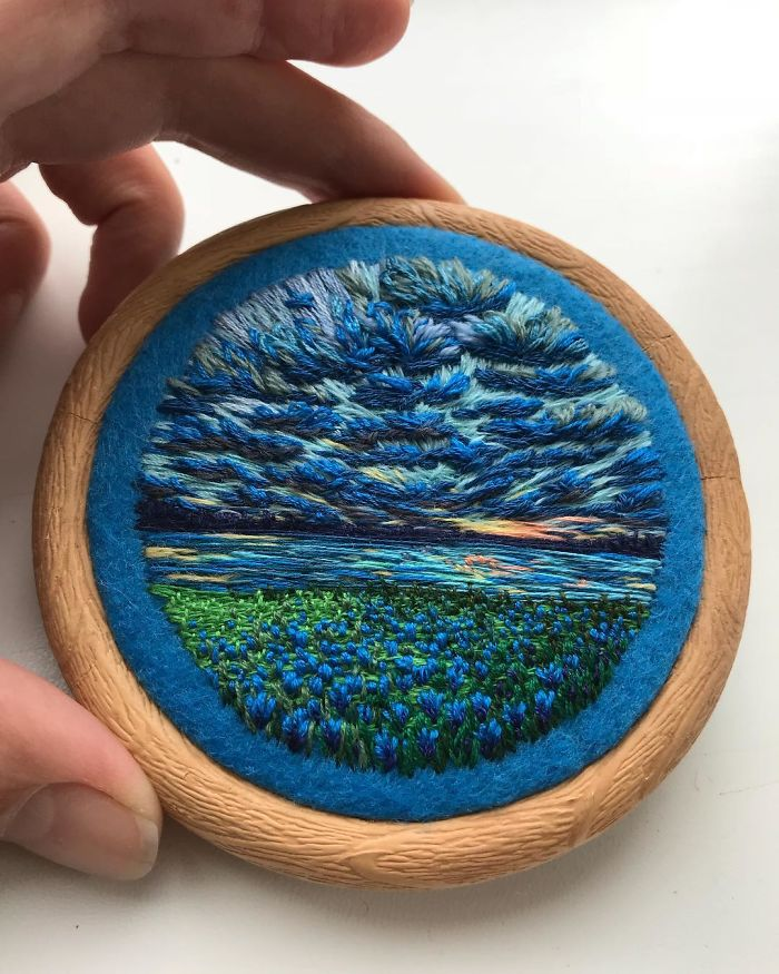 Lush Embroidery Hoop Art Of Landscapes In Vivid Colors By Vera Shimunia 8