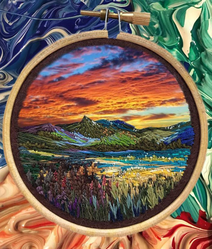 Lush Embroidery Hoop Art Of Landscapes In Vivid Colors By Vera Shimunia 9