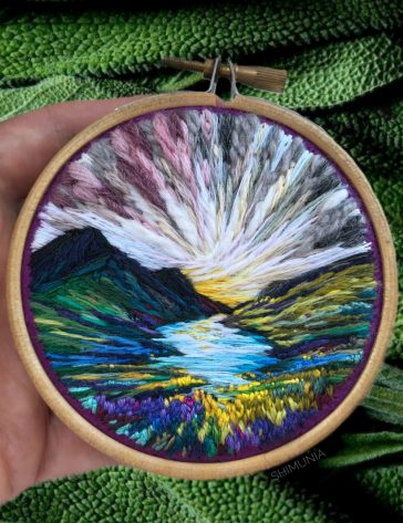 Lush embroidery hoop art of landscapes in vivid colors by Vera Shimunia