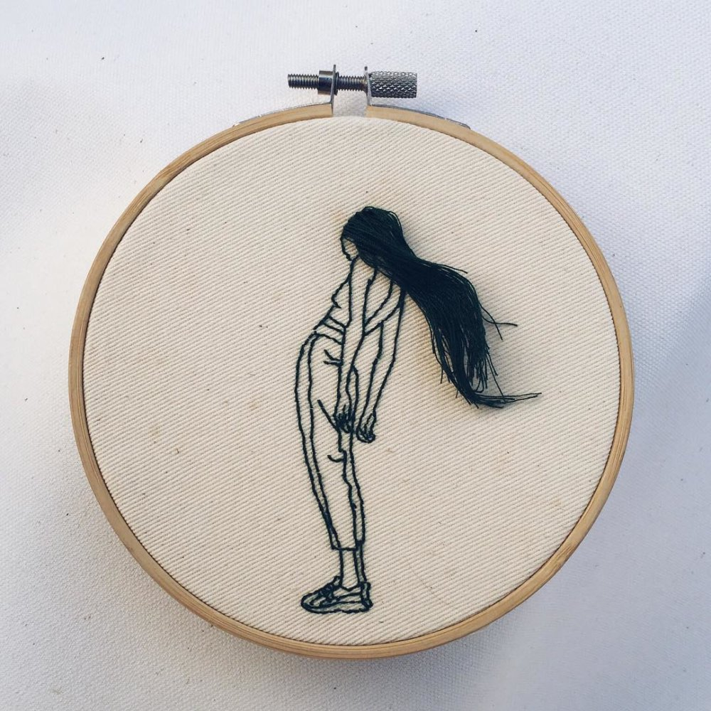 Wonderful Hair Embroidery Hoop Art By Fashion Model And Artist Sheena Liam 11