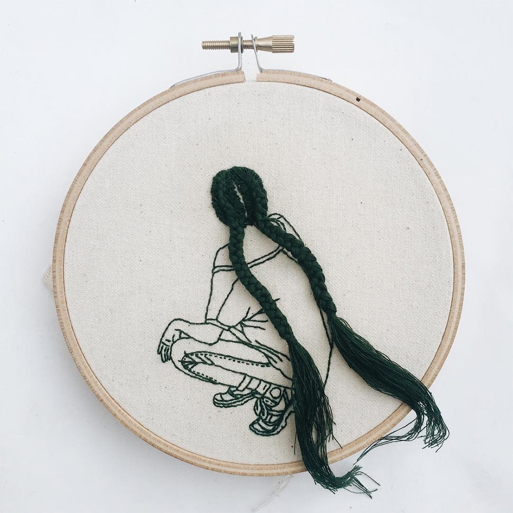 Wonderful Hair Embroidery Hoop Art By Fashion Model And Artist Sheena Liam 4