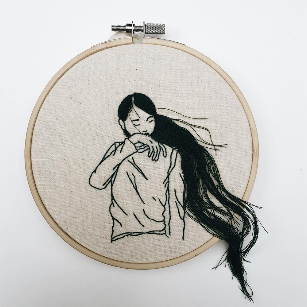 Wonderful Hair Embroidery Hoop Art By Fashion Model And Artist Sheena Liam 5