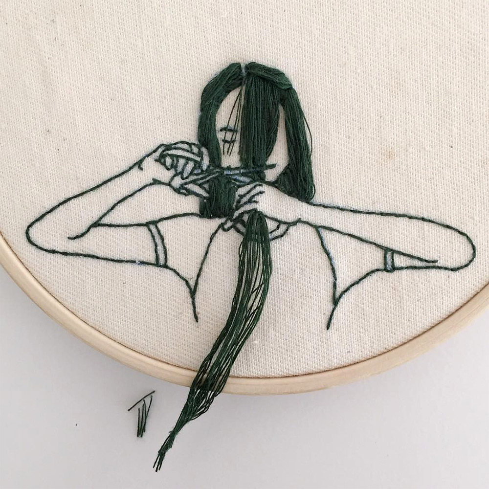 Wonderful Hair Embroidery Hoop Art By Fashion Model And Artist Sheena Liam 6