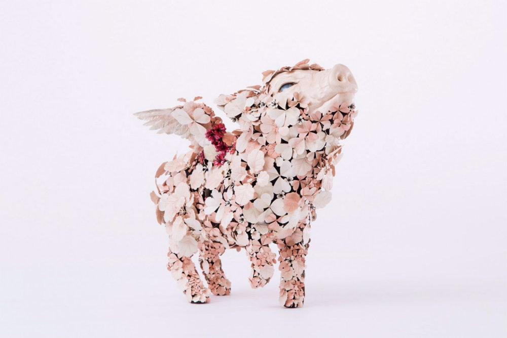 Animal Sculptures Made Of Metallic Blooms By Taiichiro Yoshida 3