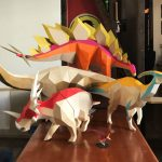 """Khartosauria"": accurate 3D dinosaur paper sculptures by Seba Naranjo"