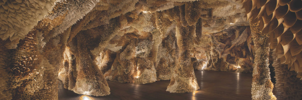 Manifestation Cave Installations Made Of Millions Of Hand Rolled Paper Cones By Samuelle Green 10