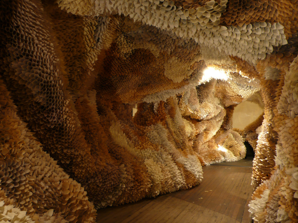 Manifestation Cave Installations Made Of Millions Of Hand Rolled Paper Cones By Samuelle Green 8