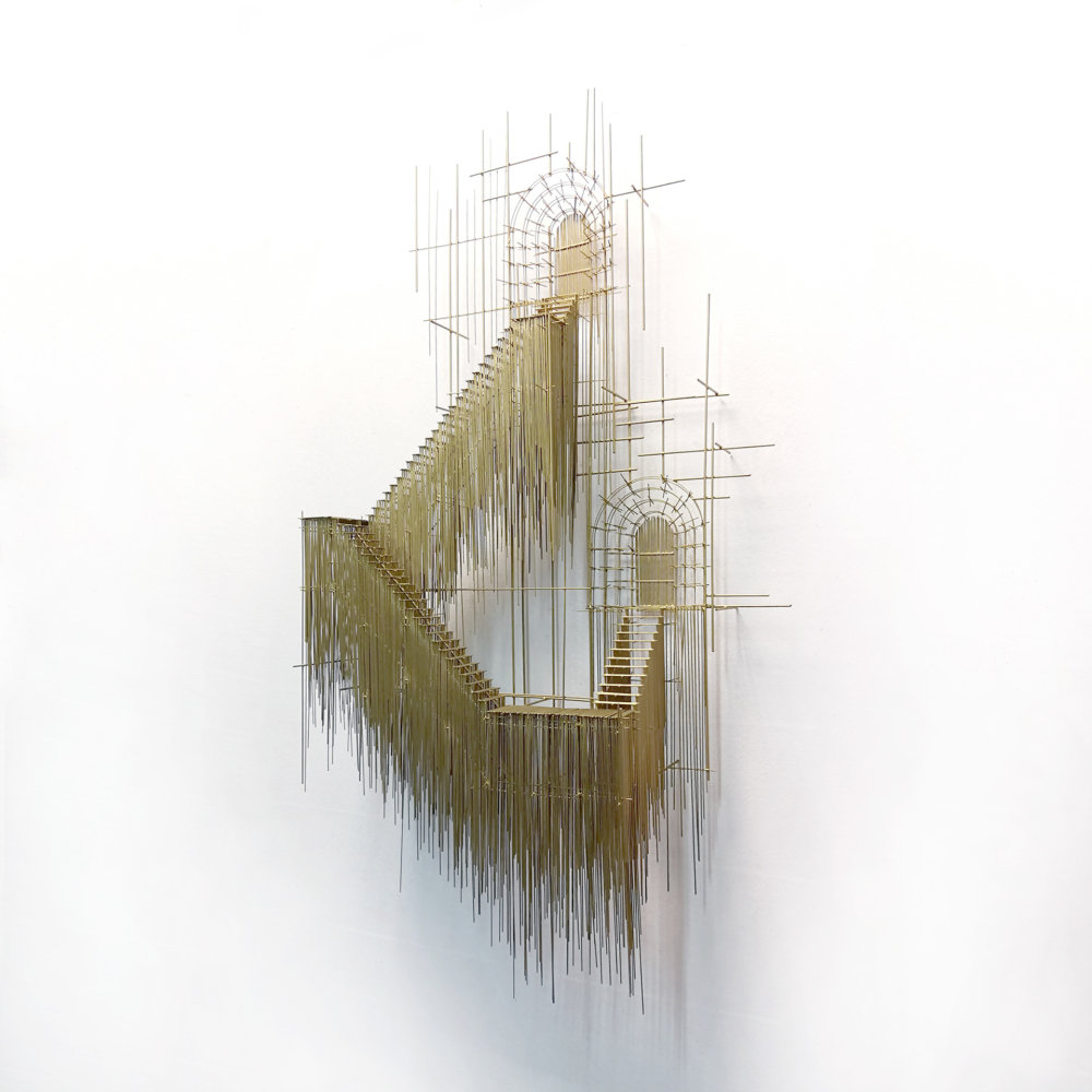Metal sketches architectural steel wire sculptures by David Moreno