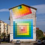 Prismatic: checkered murals with vivid and contrasting color shades by Alberonero