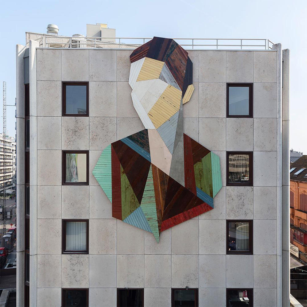 Strook Geometric Murals Of Figure Collages Made Of Old Doors And Pieces Of Furniture By Stefaan De Croock 1