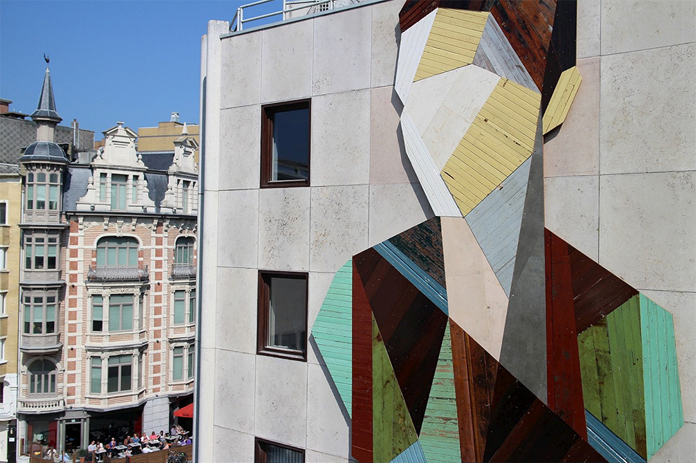 Strook Geometric Murals Of Figure Collages Made Of Old Doors And Pieces Of Furniture By Stefaan De Croock 2