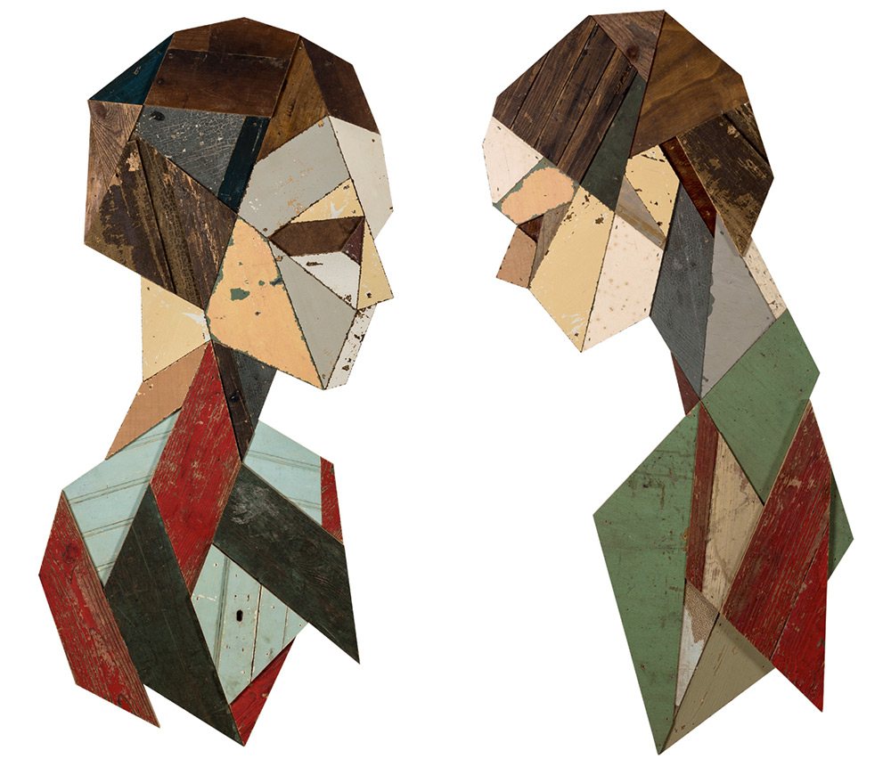 Strook Geometric Murals Of Figure Collages Made Of Old Doors And Pieces Of Furniture By Stefaan De Croock 4