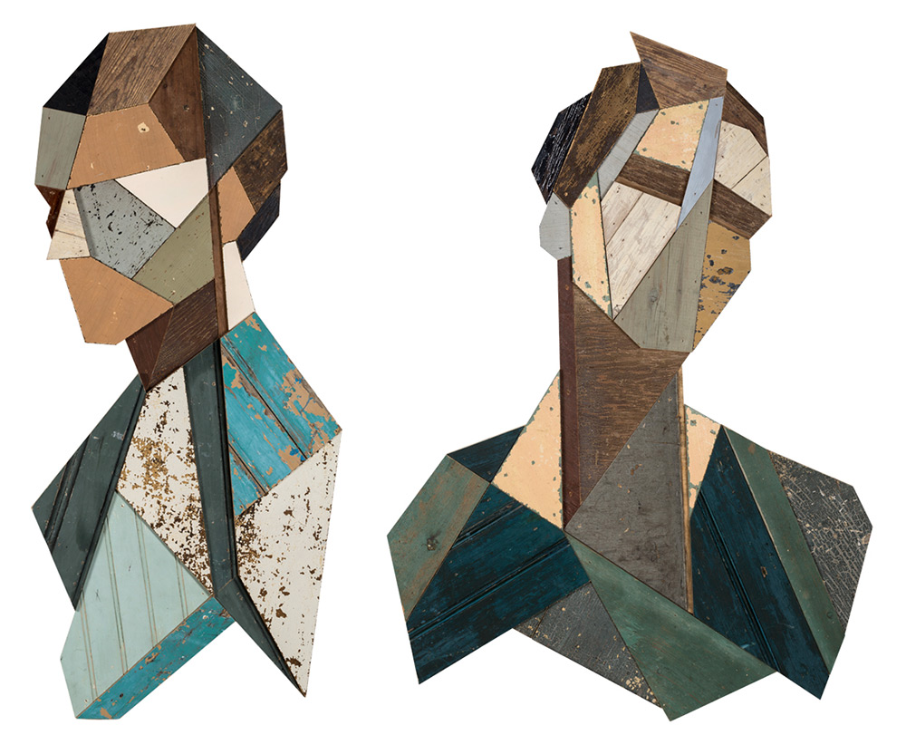 Strook Geometric Murals Of Figure Collages Made Of Old Doors And Pieces Of Furniture By Stefaan De Croock 7