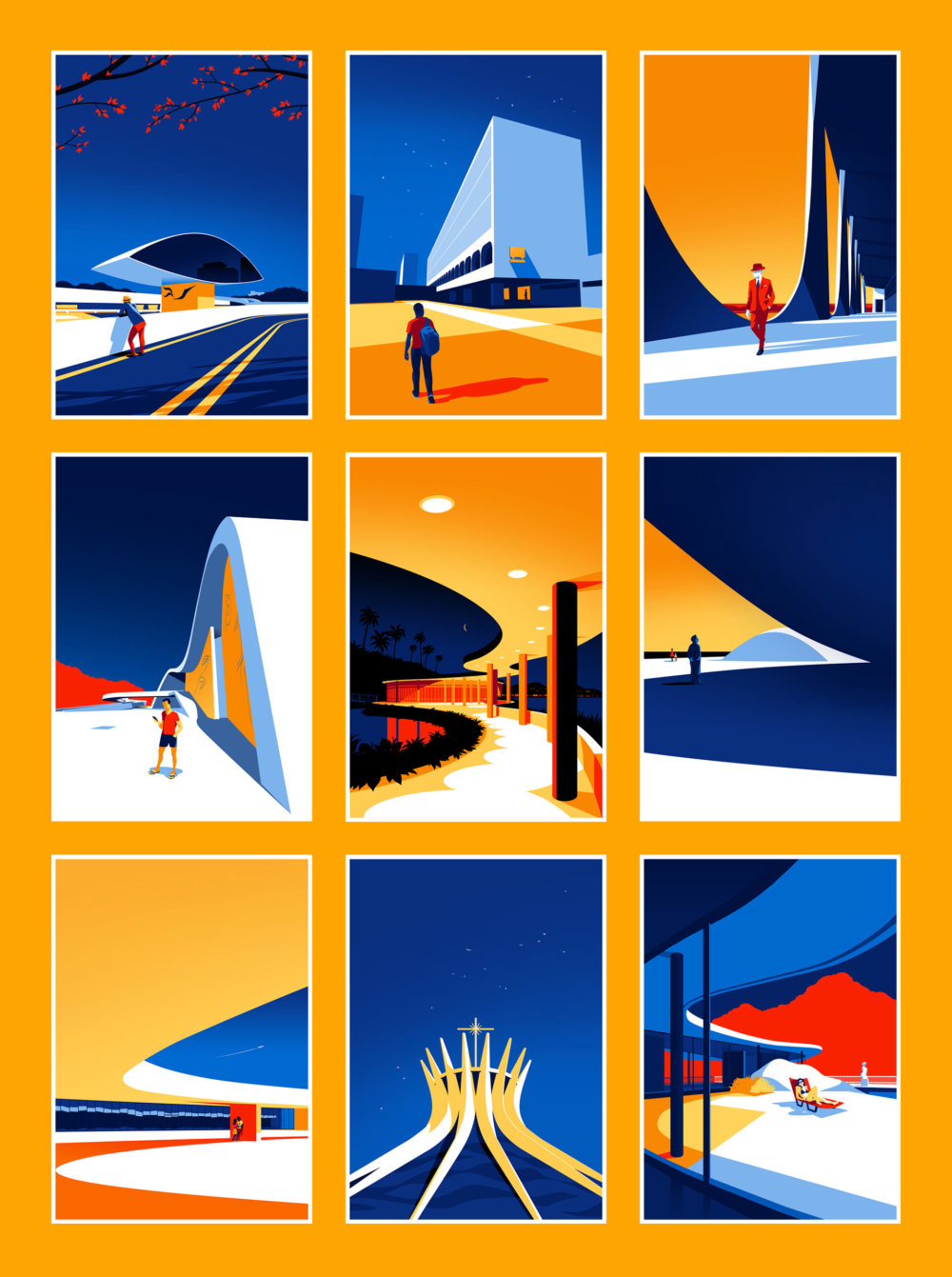 Utopia Architectural Illustration Series Featuring Oscar Niemeyers Design Lines By Levente Szabo 10