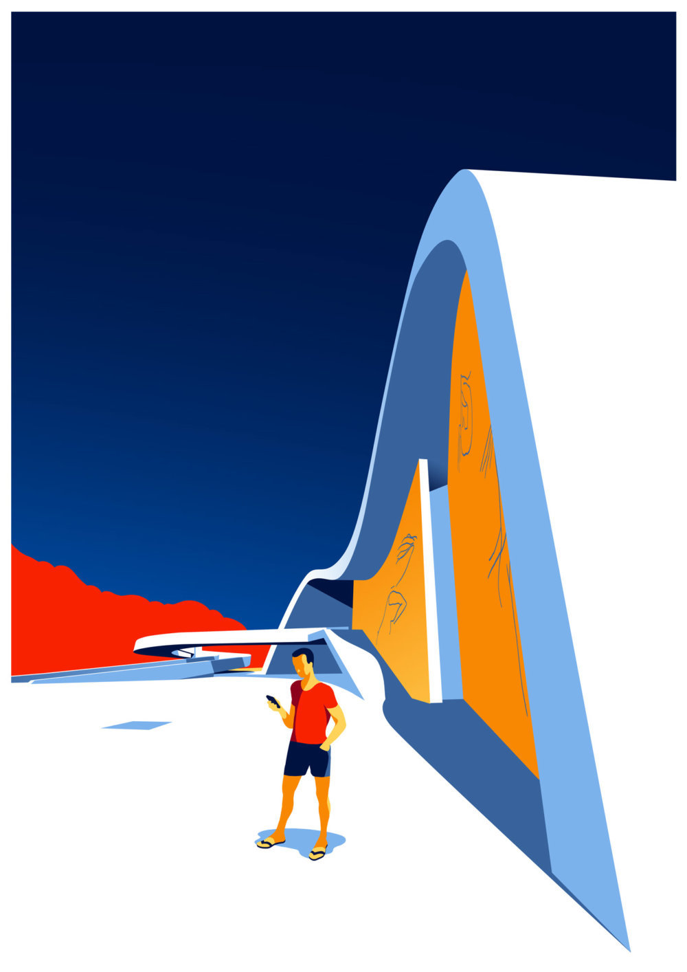 Utopia Architectural Illustration Series Featuring Oscar Niemeyers Design Lines By Levente Szabo 6