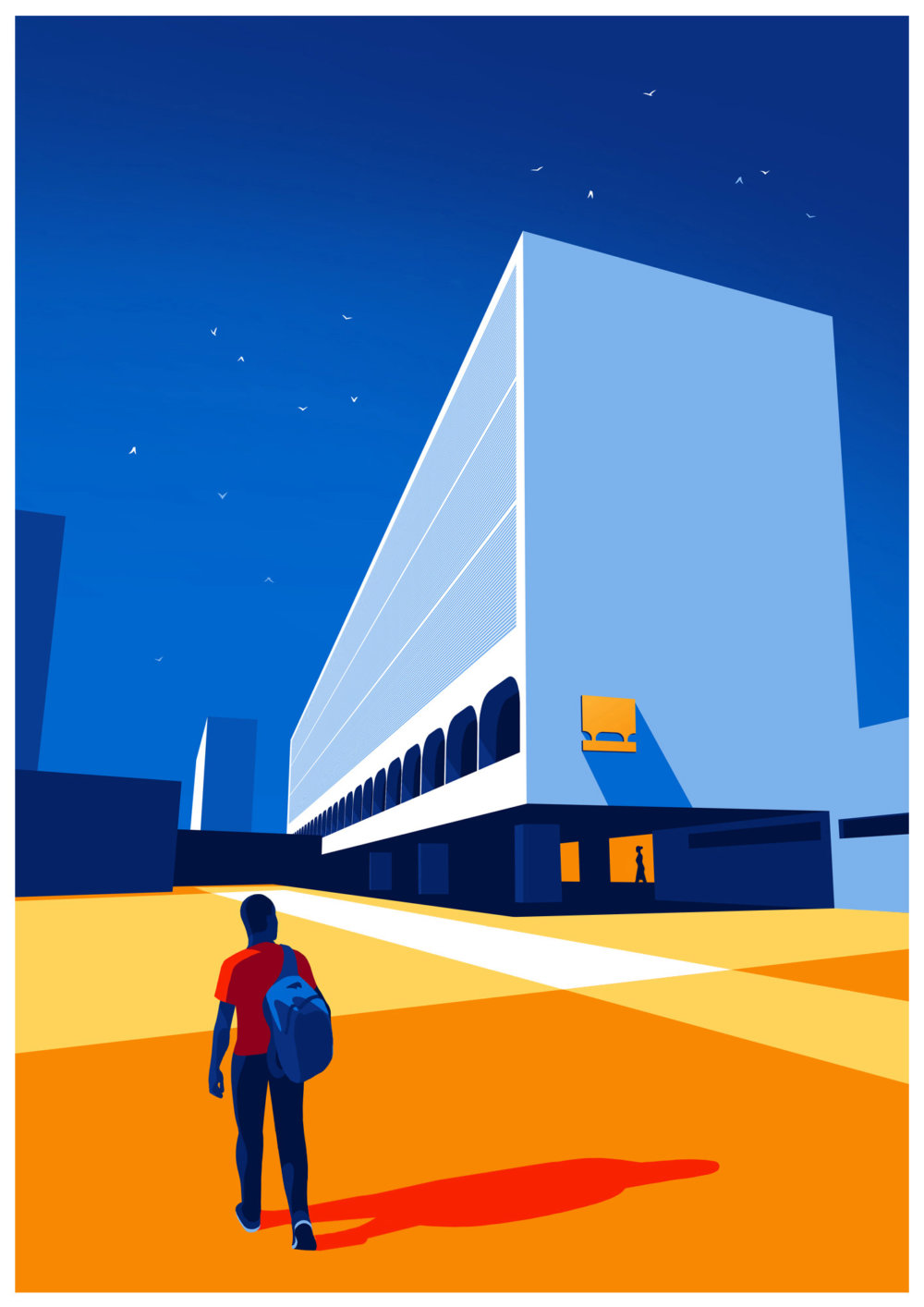 Utopia Architectural Illustration Series Featuring Oscar Niemeyers Design Lines By Levente Szabo 7