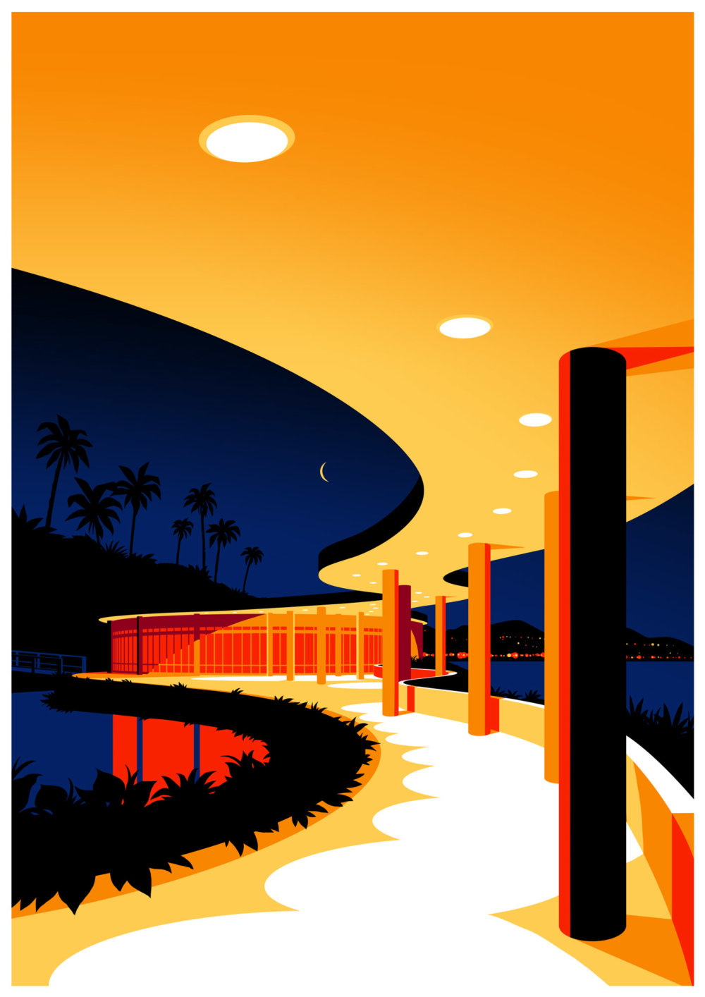 Utopia Architectural Illustration Series Featuring Oscar Niemeyers Design Lines By Levente Szabo 8