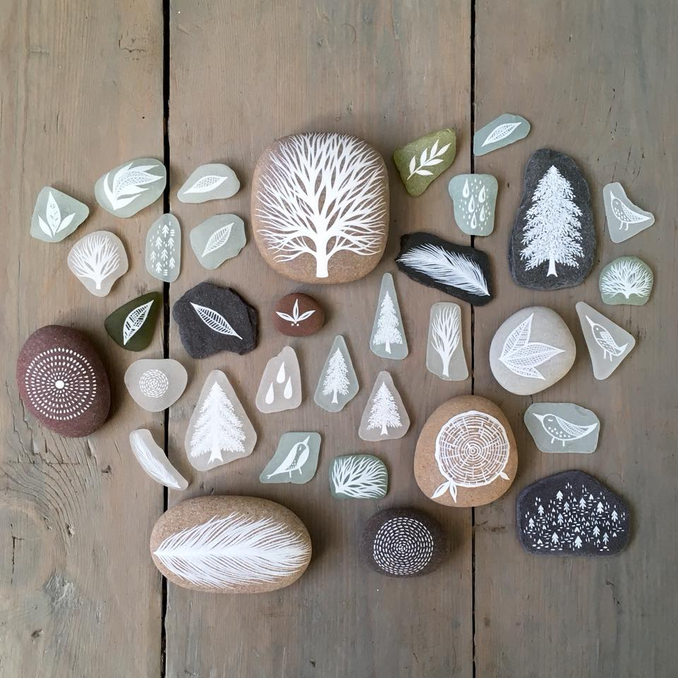 Beautifully Illustrated Beach Pebbles And Glass By Natasha Newton 5