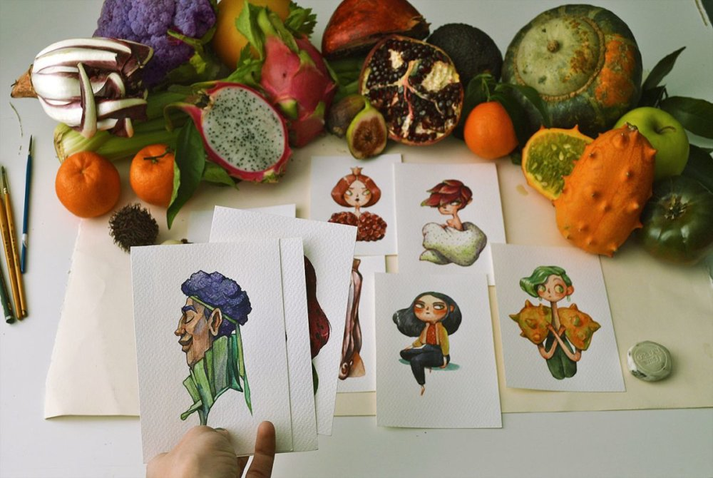 Fruits And Vegetables Turned Into Gorgeous Characters By Marija Tiurina 1