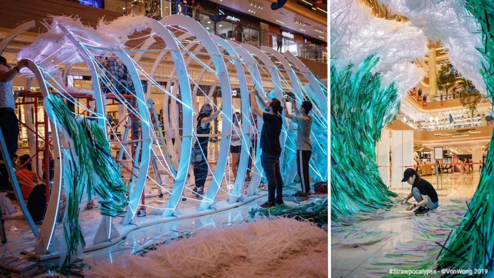 Huge Wave Sculptures Made Of Thousands Of Discarded Straws By Von Wong 06