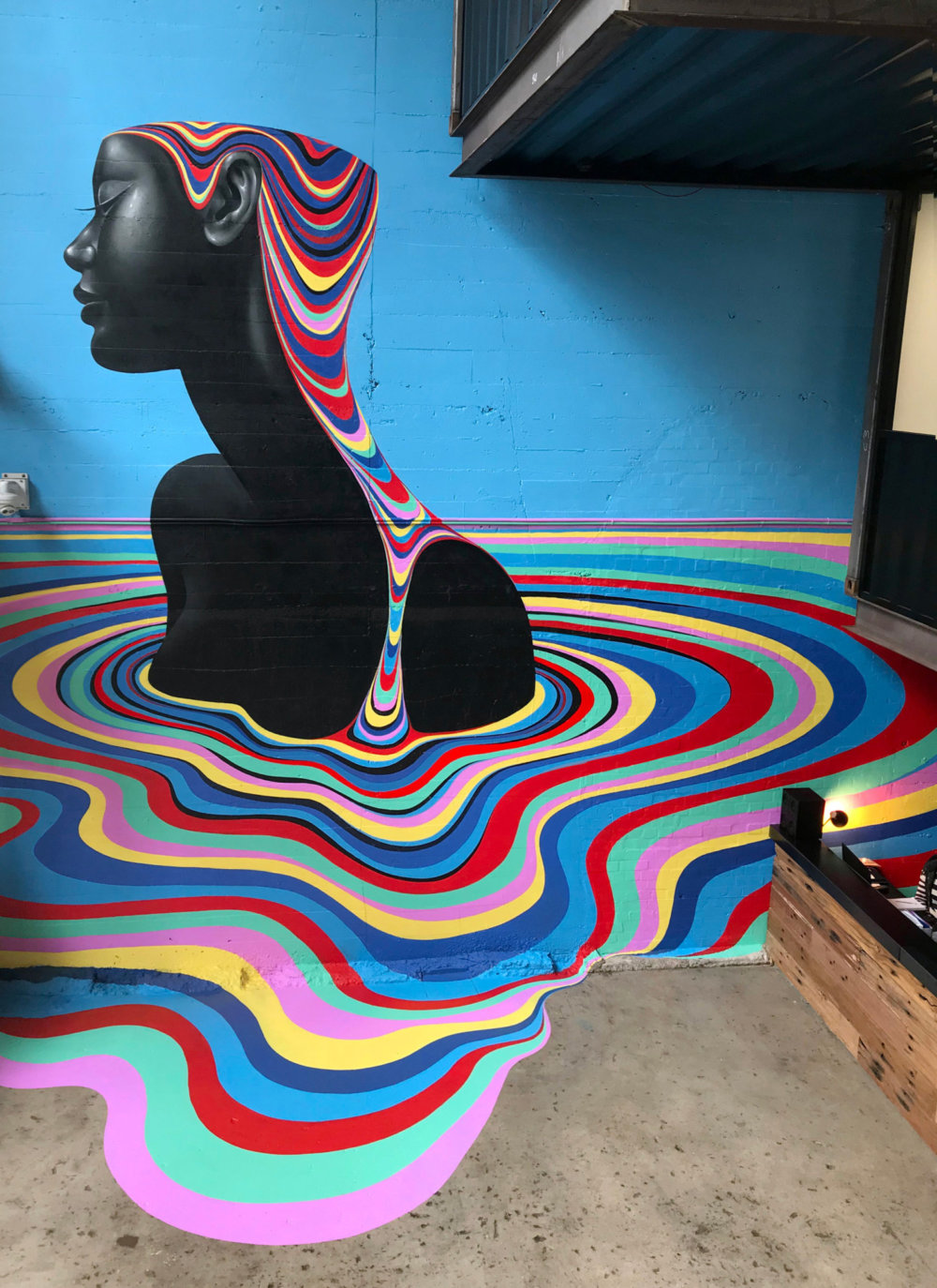 Murals Of Monochromatic Figures Pouring Colorful Fluids By Gina Kiel 1