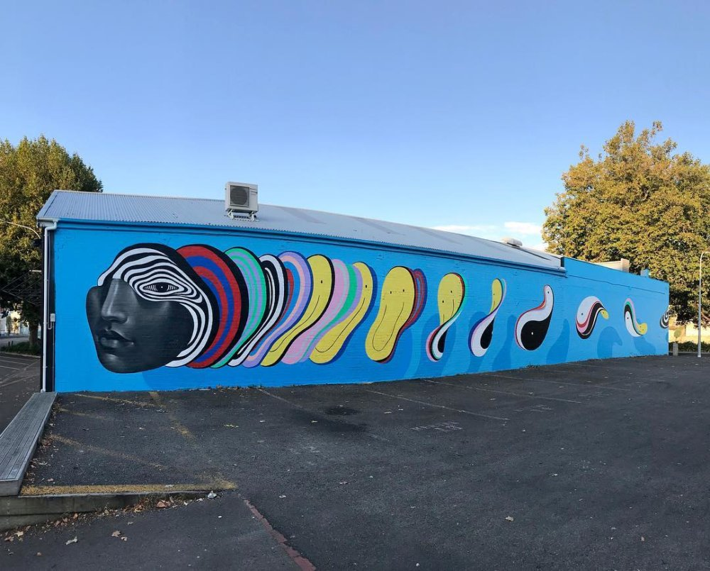 Murals Of Monochromatic Figures Pouring Colorful Fluids By Gina Kiel 2