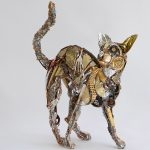 Scrap metal and discarded objects recycled into lifelike animal sculptures by Barbara Franc