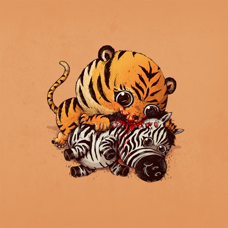 Adorable Circle Of Life Lovely And Disturbing Wild Animal Illustrations By Alex Solis 1