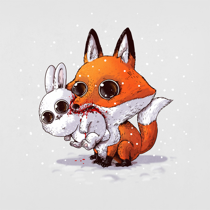 Adorable Circle Of Life Lovely And Disturbing Wild Animal Illustrations By Alex Solis 2