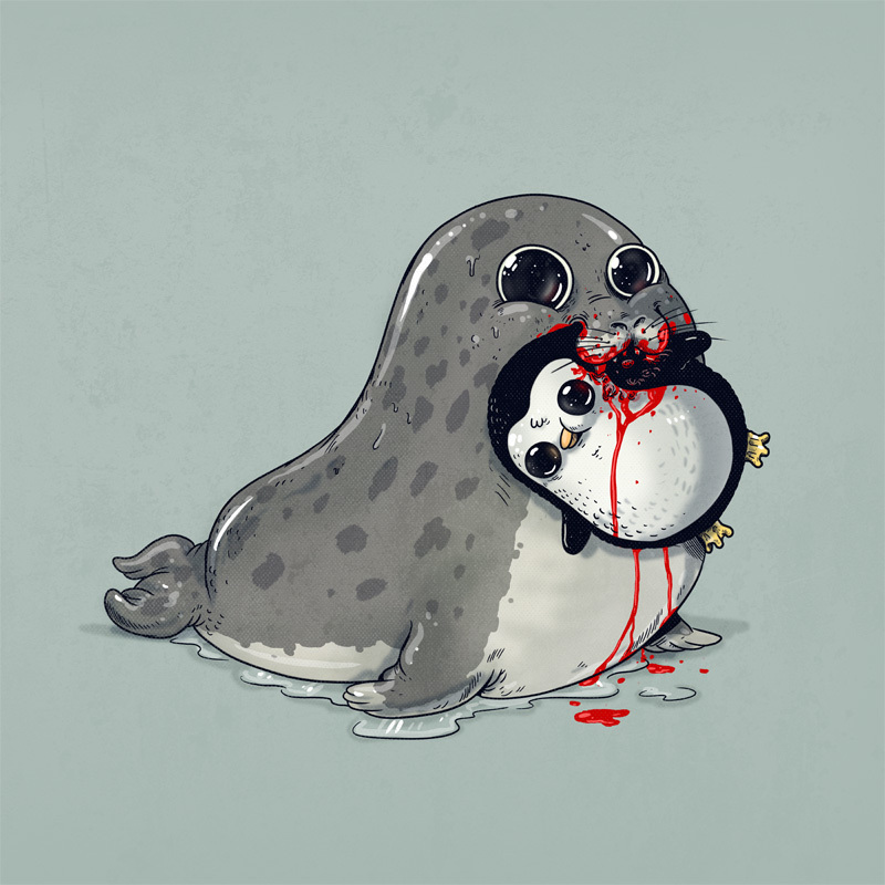 Adorable Circle Of Life Lovely And Disturbing Wild Animal Illustrations By Alex Solis 4