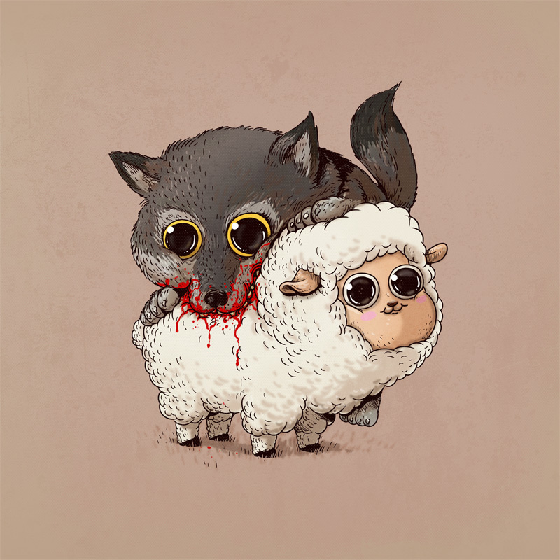 Adorable Circle Of Life Lovely And Disturbing Wild Animal Illustrations By Alex Solis 5