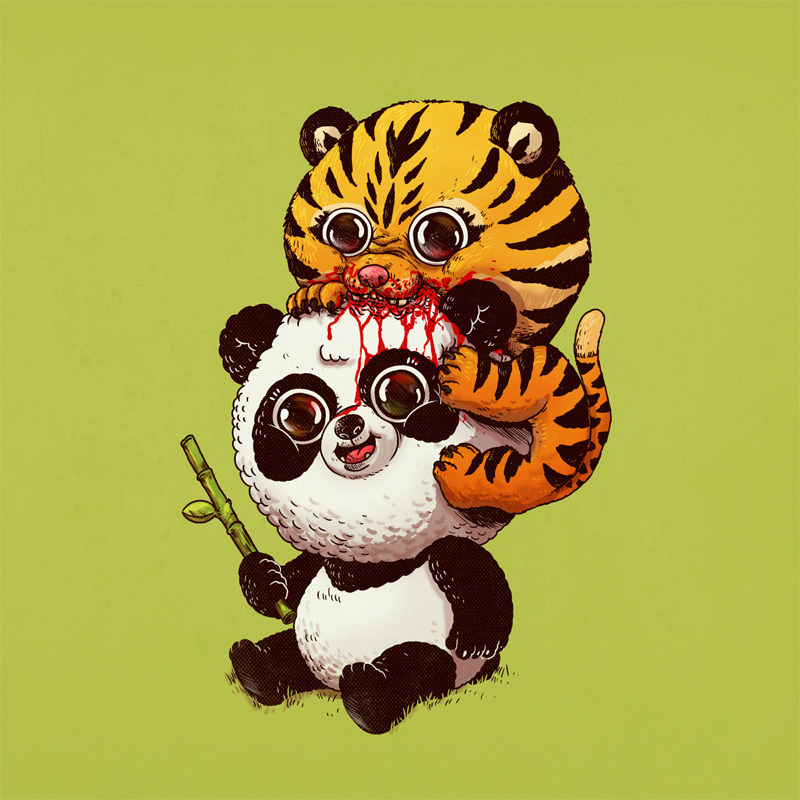 Adorable Circle Of Life Lovely And Disturbing Wild Animal Illustrations By Alex Solis 7