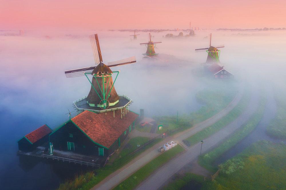 Magic Windmills Enchanting Dutch Landscapes In The Fog By Albert Dros 4
