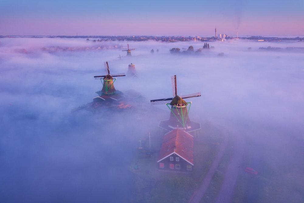 Magic Windmills Enchanting Dutch Landscapes In The Fog By Albert Dros 5