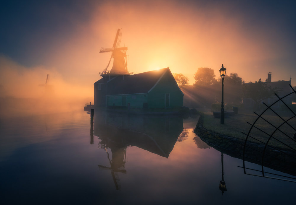 Magic Windmills Enchanting Dutch Landscapes In The Fog By Albert Dros 6