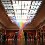 Rainbow-themed thread installations by Gabriel Dawe