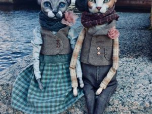 Realistic dolls of sphynx cats by Elena Alekhina