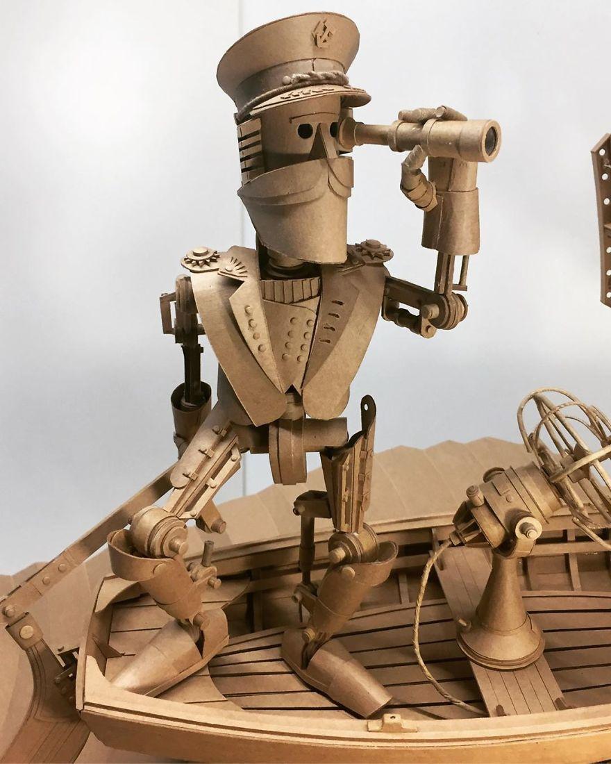 Amazingly Intricate Robot Cardboard Sculptures By Greg Olijnyk 1