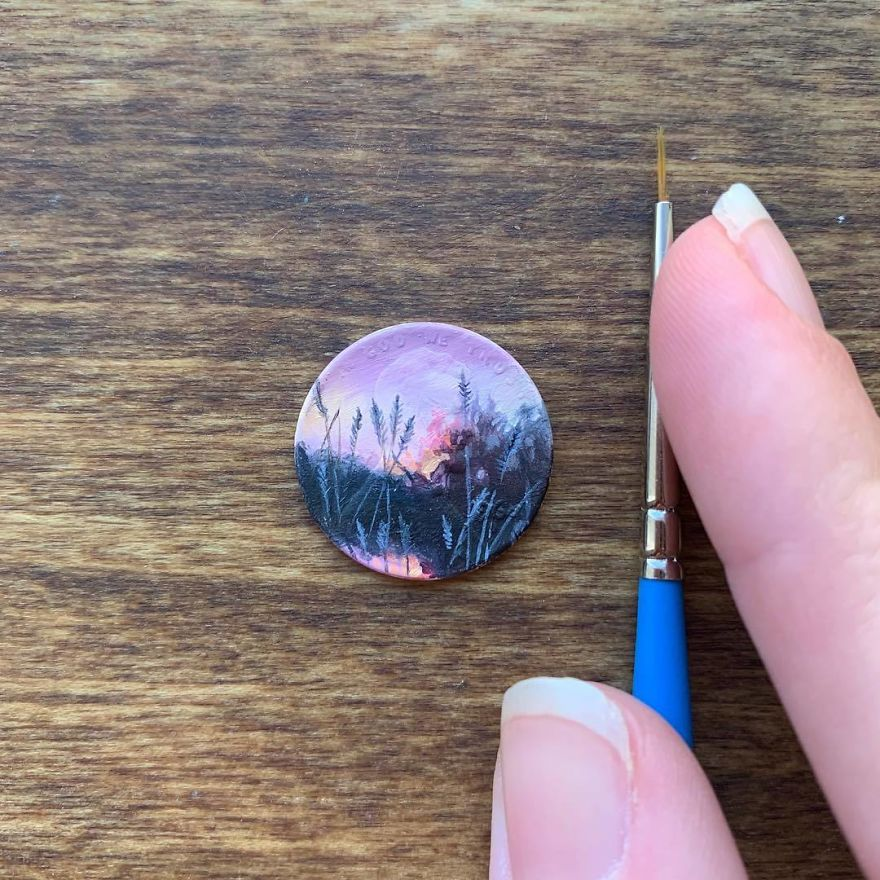 Artist Bryanna Marie Uses Coins As Canvasses For Tiny Paintings 5