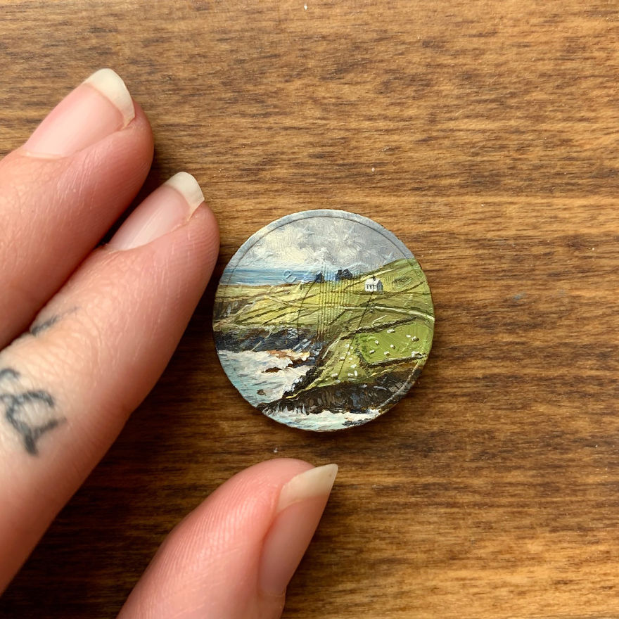 Artist Bryanna Marie Uses Coins As Canvasses For Tiny Paintings 7