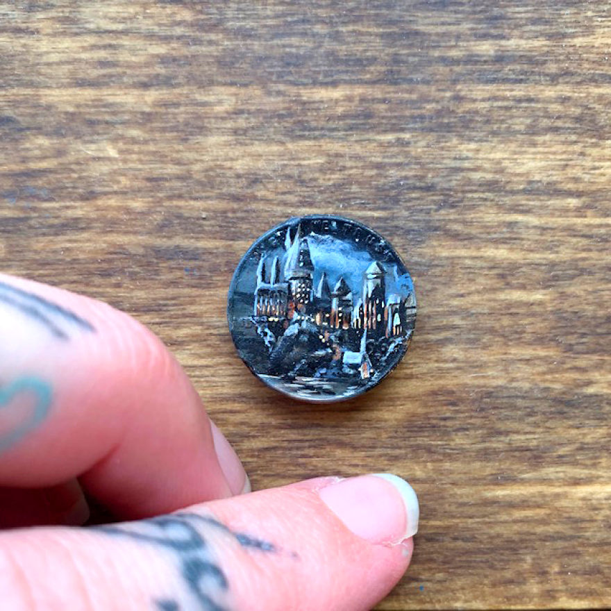 Artist Bryanna Marie Uses Coins As Canvasses For Tiny Paintings 8