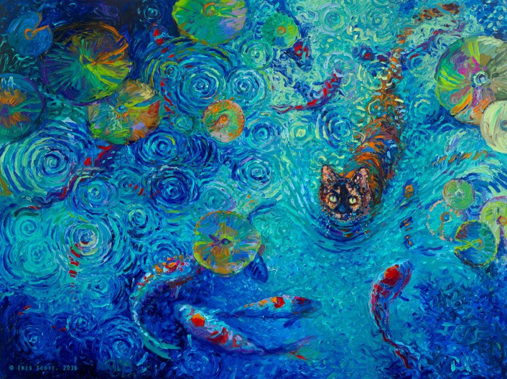 Colorful impressionistic oil paintings painted entirely with the fingers by Iris Scott 1