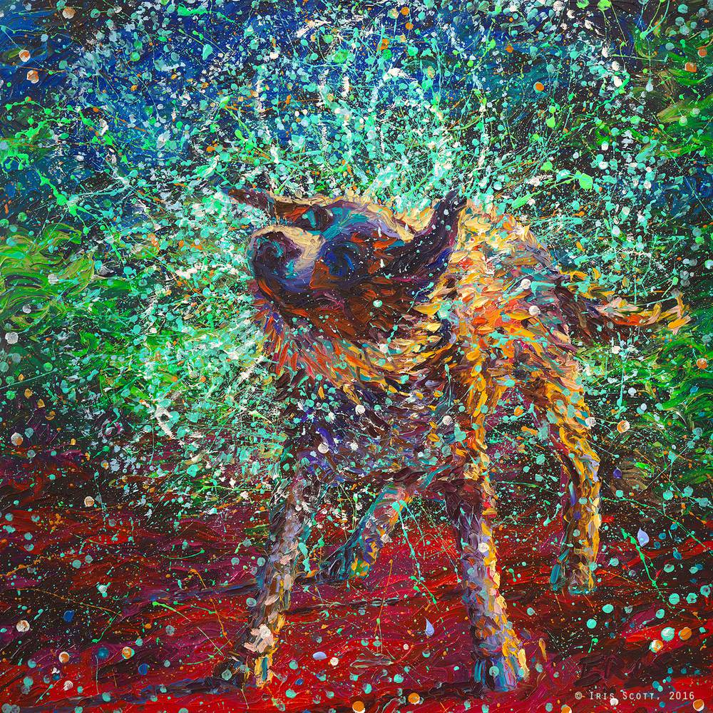 Colorful impressionistic oil paintings painted entirely with the fingers by Iris Scott 10